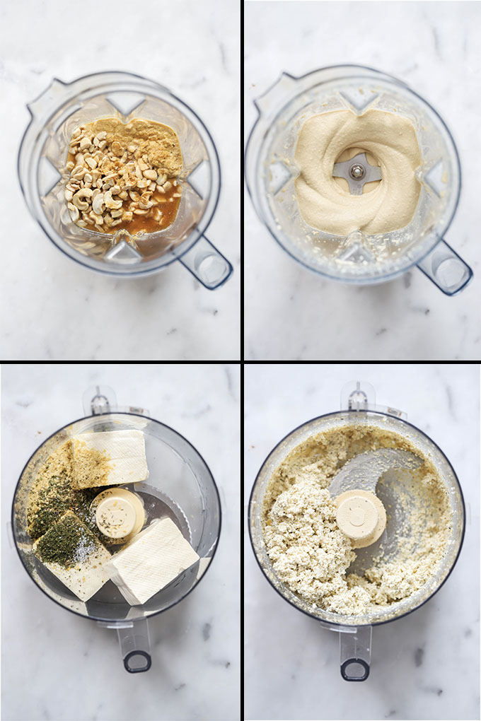 vegan baked ziti process shots for cashew cream and tofu ricotta