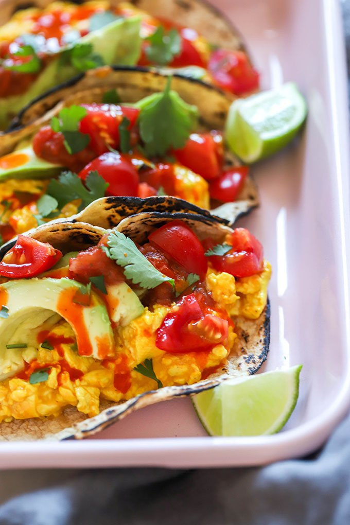 easy vegan breakfast tacos close up