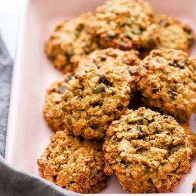 vegan breakfast cookies in pink tray