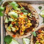 Easy Vegan Black Bean Tostadas close up on tray