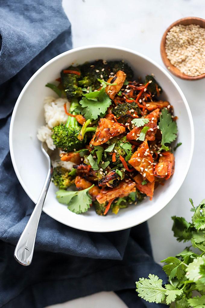 Teriyaki Tempeh and broccoli stir fry