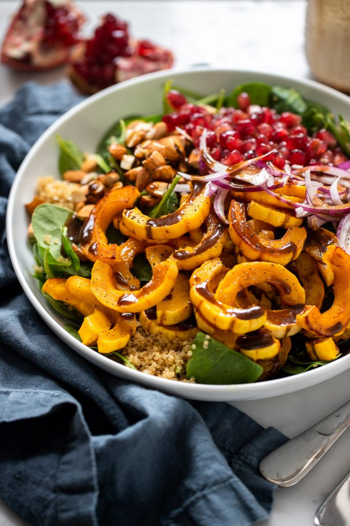 Roasted Delicata Squash, Pomegranate, and Spinach Salad