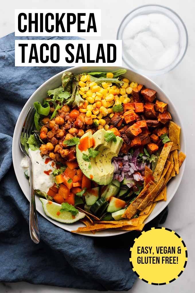 Vegan chickpea taco salad