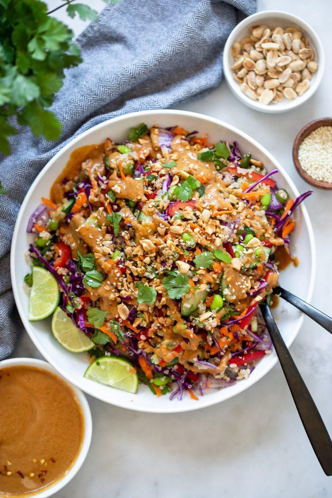 Rainbow quinoa salad with peanut dressing