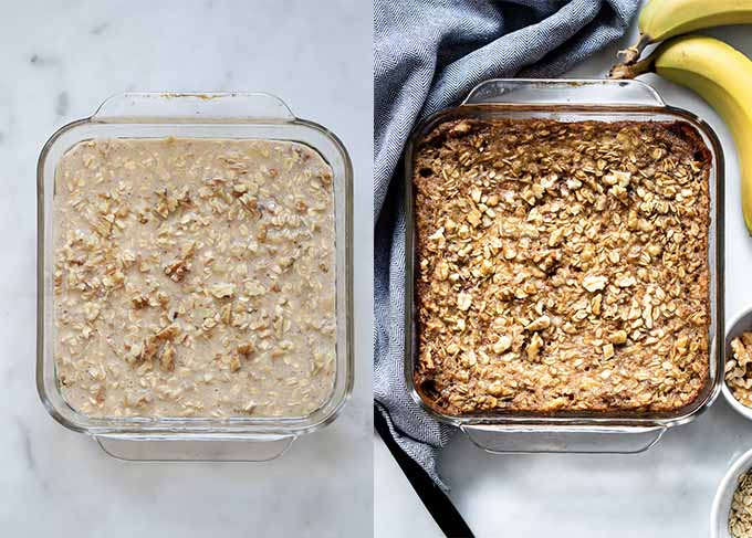 Process shots steps 3-4 banana bread baked oatmeal