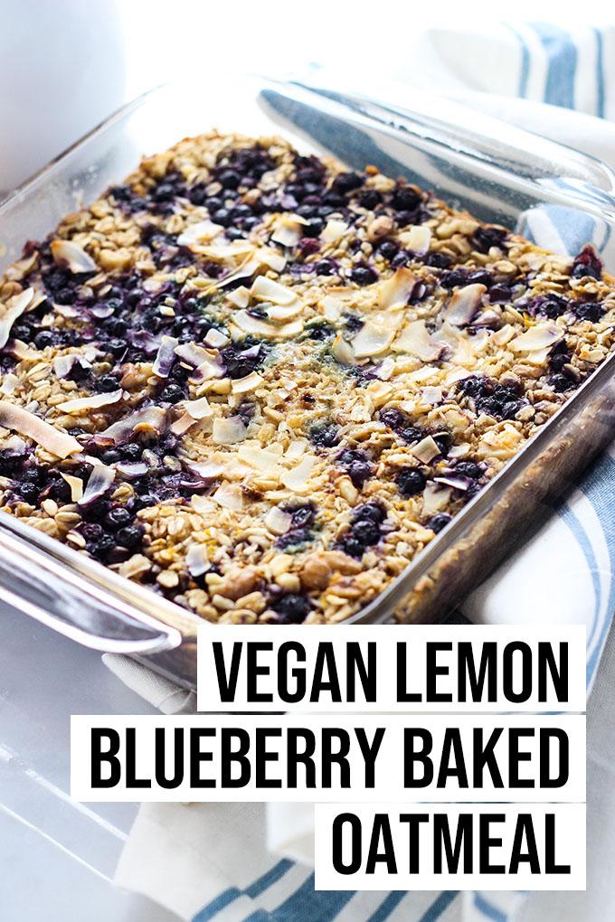 vegan lemon blueberry baked oatmeal