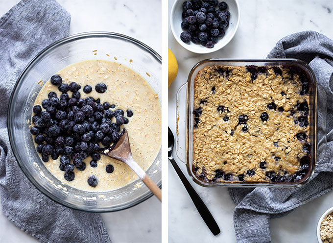 Recipe steps add blueberries, baked oatmeal in dish