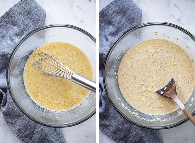baked oatmeal steps combine wet ingredients and dry ingredients in bowl