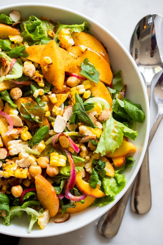 Summer Peach Salad with Corn, Almonds, and Chickpeas